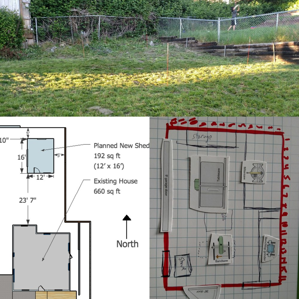 A before picture, site plan and interior plan of the workshop area.