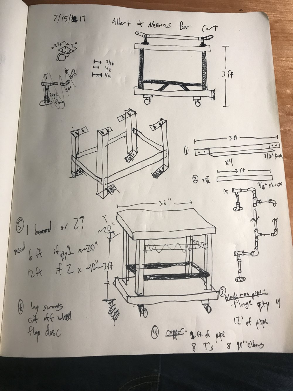 Rough plan for the bar cart.