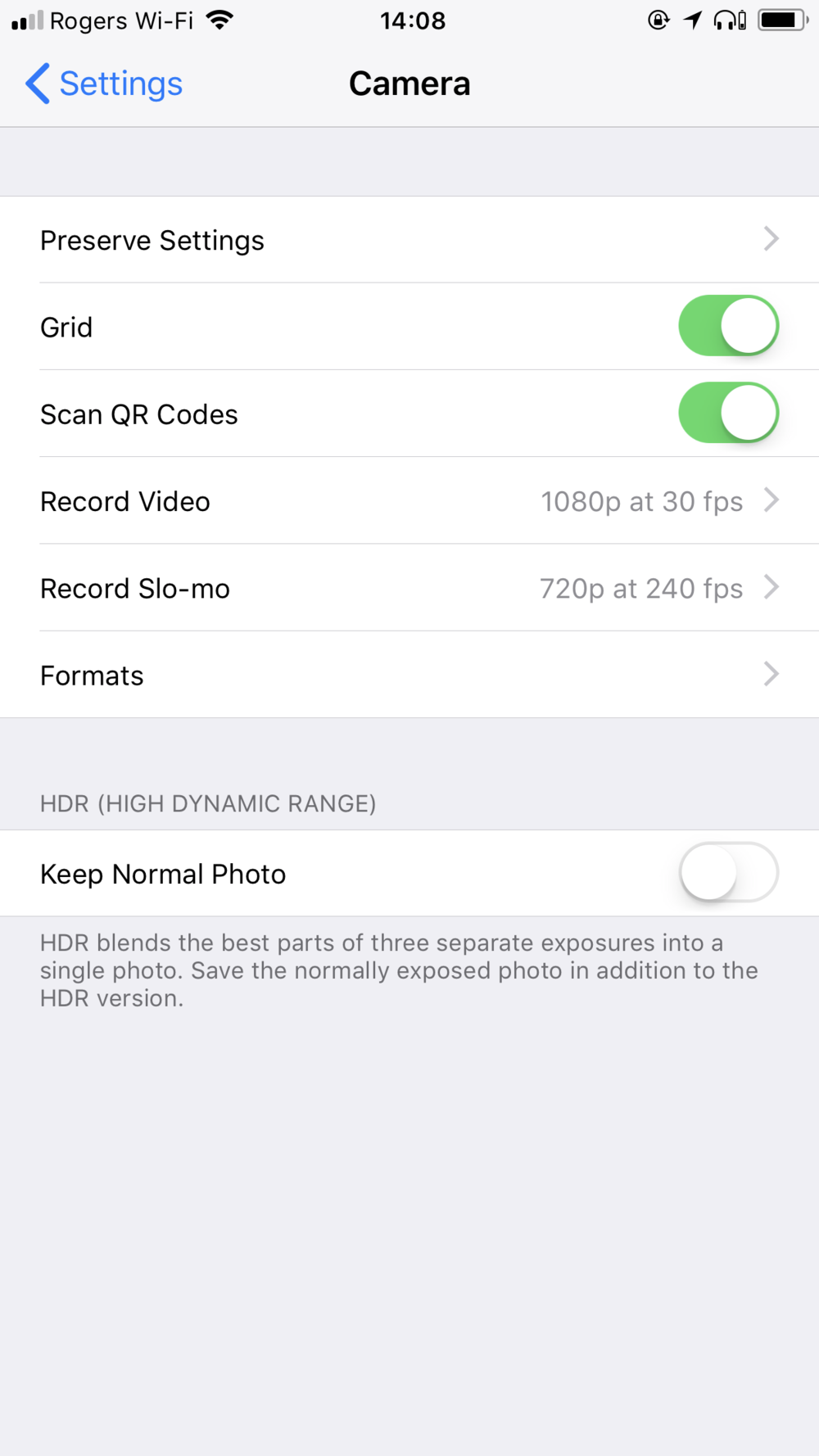 Original iOS Camera Settings