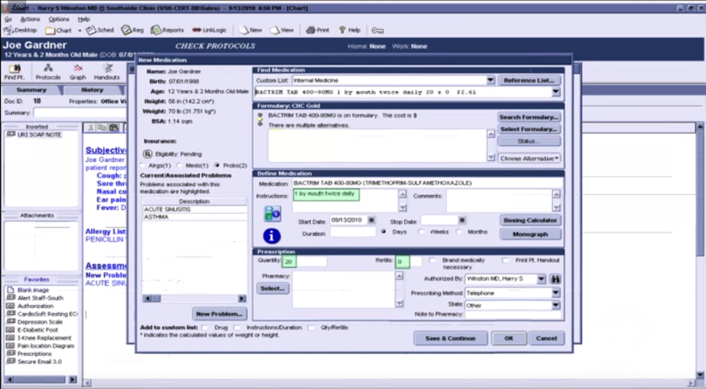 Screenshot from  HealthCois 2001 CPOE  instructional video