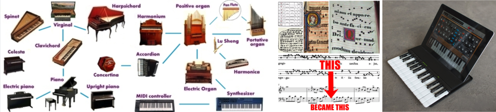 Images from (left)  Musical Instruments Evolution  (cool website), (middle)  ClassicFM , (right)  Technabob Paul Strauss 2013