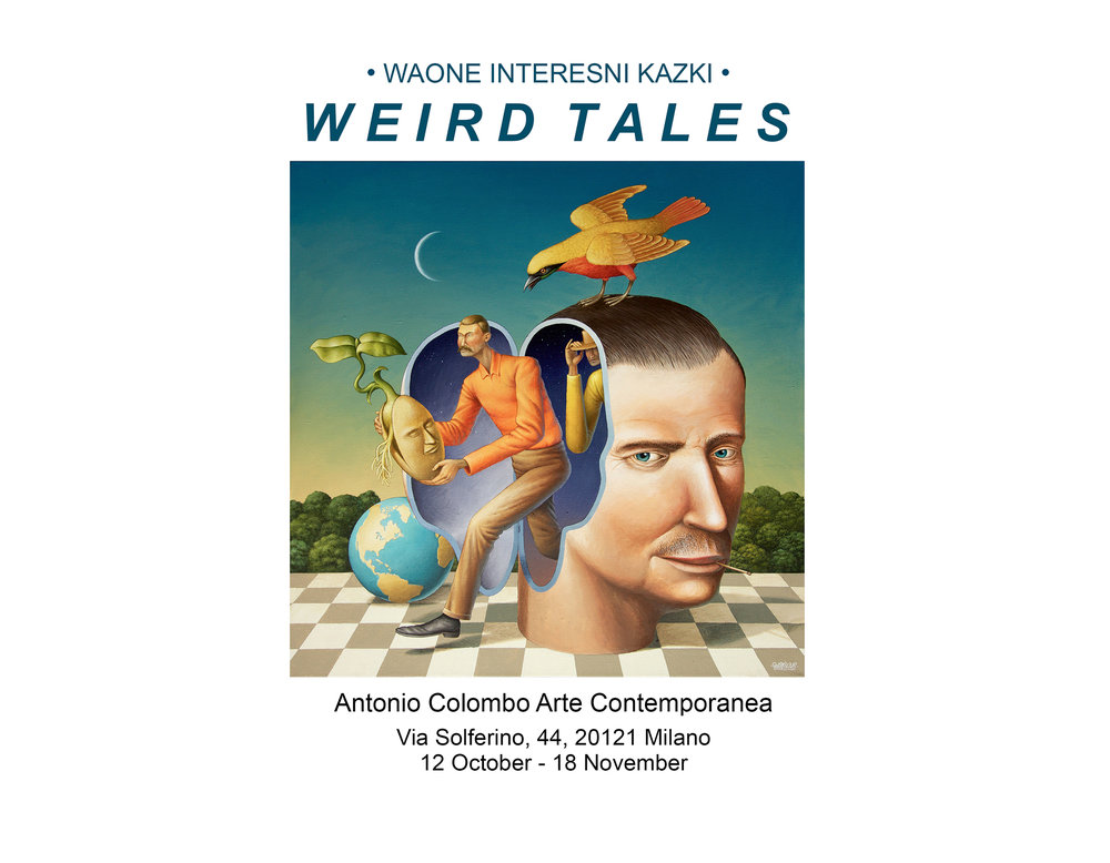"Waone`s first solo exhibition Weird Tales. Antonio Colombo Arte Contemporanea.  Opening October 12, Thu 6:30 PM. Via Solferino, 44 Milano, Italy. If you are in town, you are welcome to come over. Is on view untill 18th November.    Weird Tales (by Ivan Quaroni)   ""Sleep is the form in which every living creature has the right to genius, to its strange imaginings and magnificent vagaries."" (Jean Cocteau)   Weird Tales was an American magazine that published tales of horror and science fiction from 1923 to 1954, by cult authors like H.P. Lovecraft, Ray Bradbury, Richard Matheson and Fritz Leiber. One of the most characteristic features of this pulp magazine was the compelling graphic style of the covers, based on a mixture of mystery and marvel, exotica and subtle fetishism. A style that set the pace for alternative publishing, but one that does not actually have much to do with the graphic language of the Ukrainian painter and muralist Waone. In spite of this fact, it should still come as no surprise that the artist (whose real name is Vladimir Manzhos) has decided to use this title for his exhibition. It is not a matter of similarities of style, but a question of interest in a certain type of story. Weird is an adjective that has many meanings: strange or bizarre, wild or illogical, but also magical, supernatural, mysterious, arcane. In short, the perfect adjective for Waone's works, though they are not ""pulp."" And there's more: the narrative attitude, the focus on storytelling, have always been characteristics of Waone's painting, ever since the days in which he formed an ""artistic"" couple with his friend Aec (Aleksei Bordusov) in the duo known as Interesni Kazki which – as a matter of fact – means ""interesting fables"" in Ukrainian. So we might say that the ""weird tales"" of today are the evolution of the ""interesting fables"" of yesterday. In the end, it is all about stories. And speaking of stories, the tale of Waone himself is also quite interesting (and weird). Self-taught but raised in a family of art lovers – his father was a collector of orthodox icons – at an early age the artist revealed a true passion for drawing. His name comes from Vavan, a nickname for Vladimir, but has been transcribed into the English Wa-One, with a wink at the urban culture of rap and graffiti. Waone made his debut in Kiev in 1999 as a writer, but already in 2003 he had given up train bombing and hip-hop lettering in favor of murals marked by a forceful, visionary narrative thrust. In 2005 he formed the duo Intersni Kazki with Aec, with whom he shares an interest in visual narration and esoteric symbolism. In a span of little more than ten years, the two made large murals in Europe, Russia, India, Mexico and the United States. Waone and Aec do not paint together. Each one does his own part of the painting, but they are both clearly influenced by the ""ligne claire"" of French and Belgian comics, translating images from the unconscious into very colorful tales full of references to science fiction and numerology, cosmology and folklore, myth and magic. When the duo split in 2016, Waone began to develop a language based on an elegant and finely detailed linear approach. After the making of Matter: Changing States, a large mural done at Kerala, in India, black and white became one of the earmarks of his style, though in parallel he continues to paint with a palette of bright colors. Curiously, the artists that have influenced the visual universe of Waone do not belong to the world of graffiti. And it should come as no surprise that he prefers to think of himself as a muralist rather than a street artist. His tutelary deities are figures like the French artist Moebius (alias Jean Giraud) and the American Robert Crumb, the former an inventor of a fantastic futuristic universe, the latter deus ex machina of American psychedelic comics. Besides these, Waone has been influenced by many other artists of the past, from the neoclassical painter Jean-Baptiste Debret with his landscapes of colonial Brazil, to the engraver Johann Theodor de Bry with his descriptions of the massacres of natives in the Americas, or contemporary illustrators like Mati Klarwein – creator of the famous cover of Bitches Brew by Miles Davis – and Walton Ford. Nevertheless, the deepest shaping of the fantastic imaginary of Waone was done by the Surrealism of Salvador Dalí. ""Surrealism is a vision of the world,"" he said a few years ago in an interview, ""[…] a sort of reality imagined through symbols."" His works are studded with allegorical and dreamy images, blending a wide range of spiritual traditions with the discoveries of quantum mechanics, references to myths and folklore, the description of natural and cosmological scenarios. An iconographic mixture that is also the product of the cultural and cosmopolitan melting pot he experienced during ten years of travels around the world to make murals. A painting like Magician of Maghreb, for example, mixes snake charmers from Marrakech with whirling dervishes of Konya in a neo-orientalist 1001 Nights vision. Elsewhere, Dionis in High Boat is a metaphysical dream that crosses motifs of Greek mythology with the graphic intuitions of Moebius and even of Hokusai. Instead, what is described in Beta to Alpha Transition and To the End of Time seems like a parallel universe, modified by the laws of subatomic physics. Each painting is a dense magma of figures and images that comply with the random language of legends and the quirky grammar of fables, defying any logical, linear interpretation. The stories painted by Waone do not obey the classic rules of narrative, but neither do they yield to the irrational chaos of a stream of consciousness. For the Ukrainian muralist the purpose of art – true art – should be to transform the loftiest divine intuitions into visual form that can be understood by all. An idea of the artist as pontifex, capable of connecting high and low, the spiritual and earthly spheres, that would have appealed to traditionalist scholars like Pavel Florensky and Ananda Coomaraswamy. An idea that also explains why Waone's paintings are so full of magical and esoteric allusions, and so often feature personifications of natural forces. The works of Weird Tales basically sum up all the motifs of Waone's art. For example, there are the cubical boxes that remind us of Renaissance magic squares (Spiral of Life, The Planetary Motion and To the End of Time), but also miniature planispheres and heavenly gates that open space-time passages towards other dimensions. There are the large bearded heads that emerge from the ground, like personifications of the spirit of the planet, the gilded cages that imprison man (Prisoned Mind) and, finally, the books of wisdom that free the mind, urging it to investigate the dimension of the unknown (Untitled and Beta To Alpha Transition). Like Italo Calvino in the meta-novel If on a Winter's Night a Traveler, Waone has invented an open narrative device, a sort of meta-painting that no longer reflects only the inner world of the artist, but at the same time becomes the screen on which the observer is invited to project his own interpretations. The artist uses his active imagination as the key to paint a perspective much wider than that of strictly biographical concerns. In short, he adopts a vision – as Alejandro Jodorowsky would say - ""that makes it possible to put life into focus from points of view that are not ours, and to think and feel starting from different perspectives."" With his painting filled with echoes of the spirituality and folklore of various peoples, Waone demonstrates that he has gotten definitively beyond the extreme subjectivism of the Surrealists, having understood that fantasy painting today has to come to terms with the cosmopolitan culture of the contemporary world. Because it is in the very rich and composite variety of traditions and cultures that separate one continent from the next that the Ukrainian artist will find other interesting fables to be told."