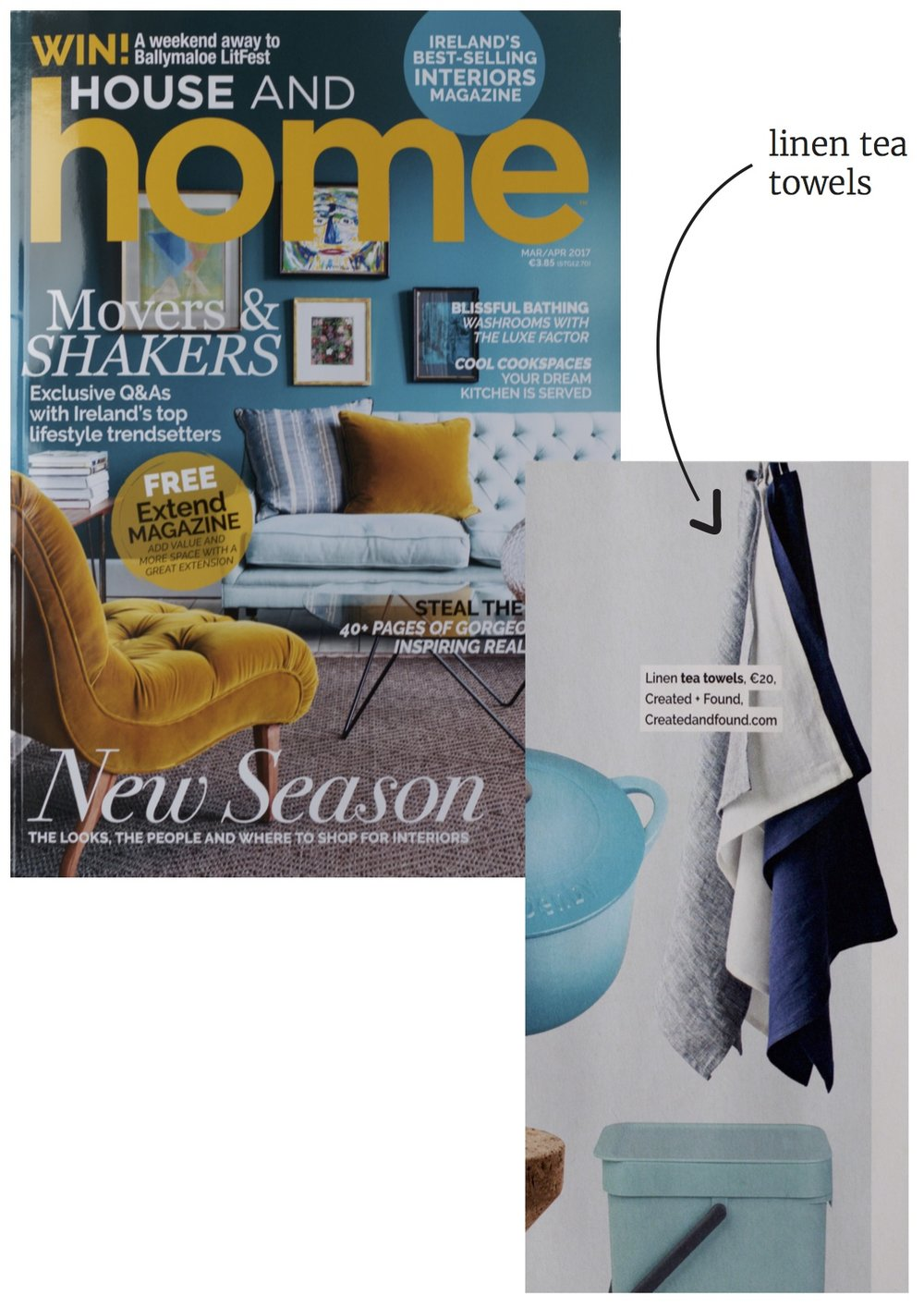 Created and Found, a contemporary Irish made homeware range in House and Home Magazine