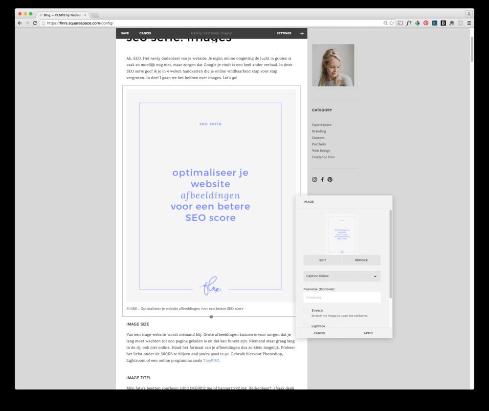 FLNRS :: Voorbeeld van een caption als ALT-tekst in Squarespace