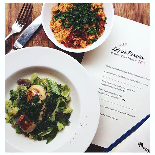 BOUDIN BLANC POÊLE, CHOUX, PETITS POIS, POIS GOURMANDS Au menu aujourd'hui  #boudin #menu16euros #fraîcheur #produit #paradis #dejeuner #paris #food #delicious