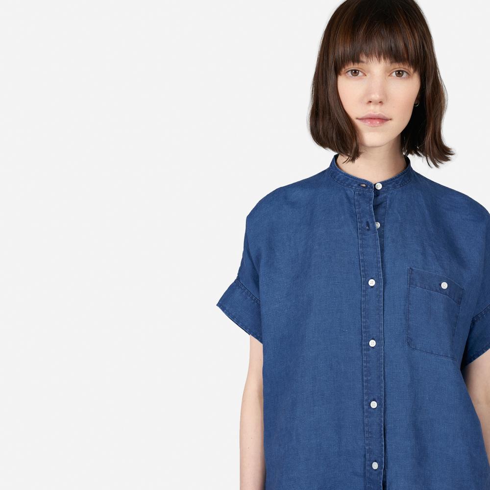 Everlane Linen Collarless Square Shirt in Indigo  USD $55