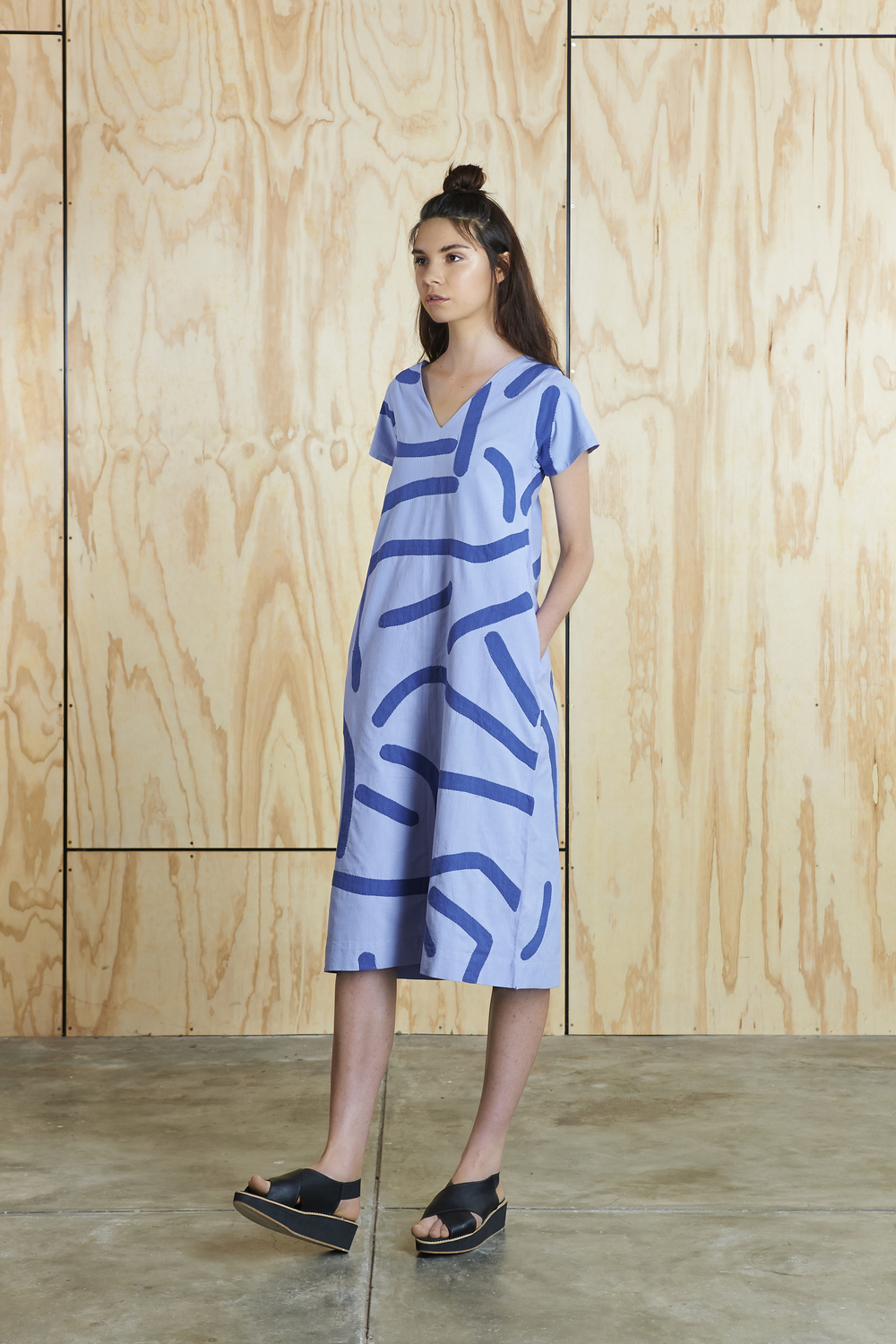 Big Creases Dress in Light Violet/Blue  AUD $310