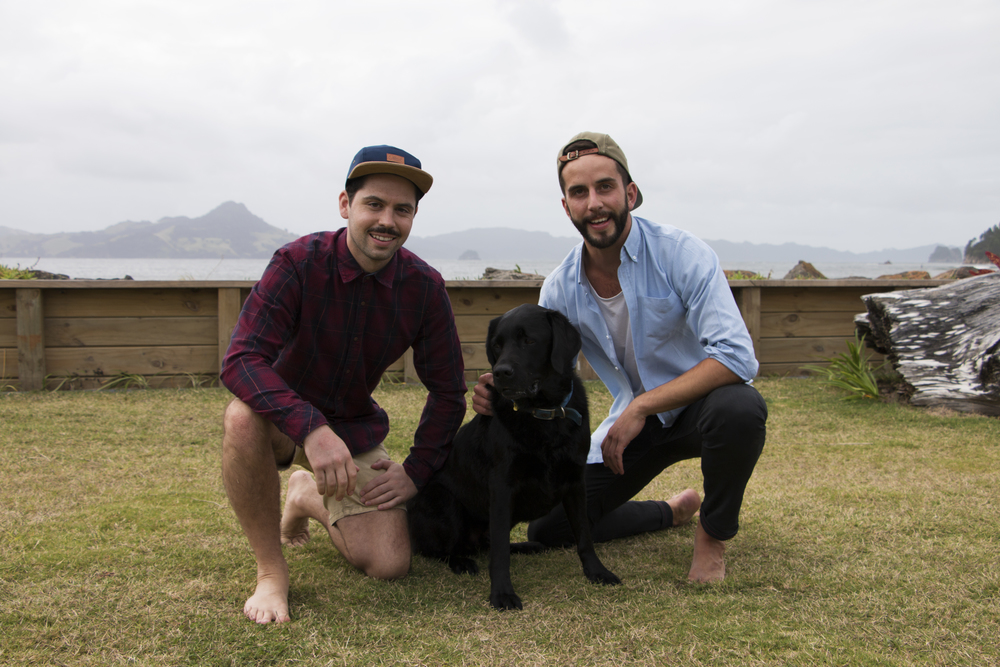 Offcut Co-Founders and best mates: Matt Purcell, Pedro the dog, and Adrien Taylor. Photo by Rupert Storey.