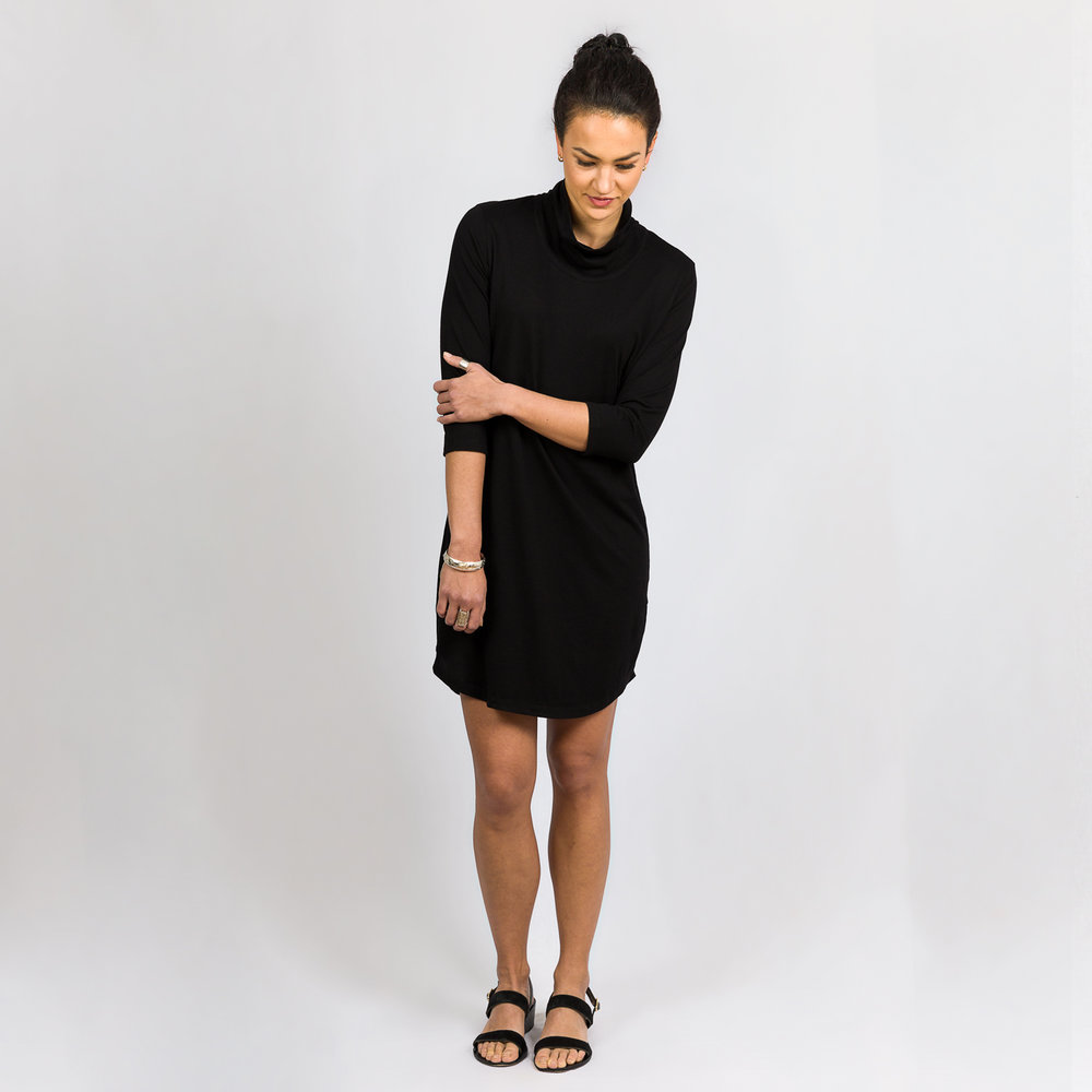 Roll Neck Dress Black (NZD $82)