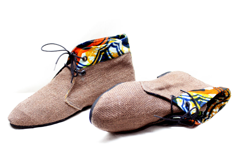 Brown Hessian High Tops by Kenyan brand  Afro Shoes