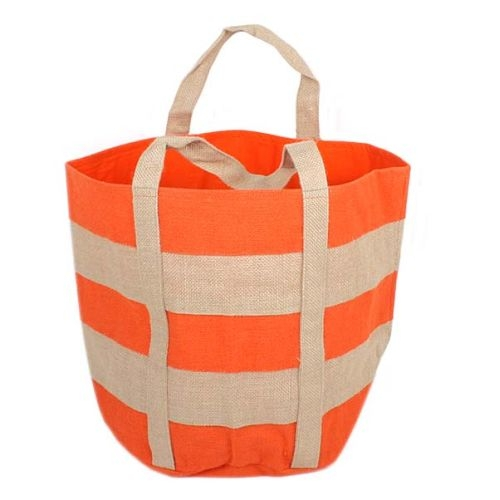 Tangerine and natural lined jute shopper from Trade Aid: NZD $28.99