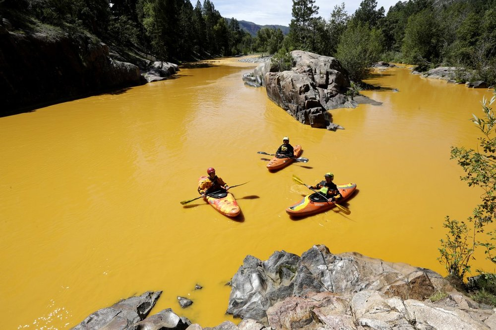 In 2015 Colarado's Animas River was turned bright orange following a gold mine waste water spill containing high levels of lead, arsenic, cadmium, and aluminium.