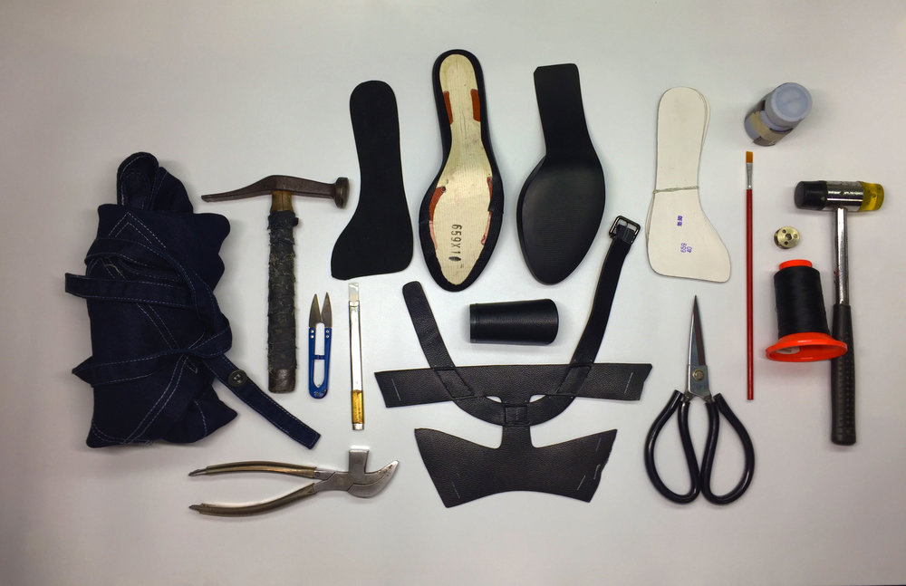Tool kit for producing Kathryn's handmade shoes