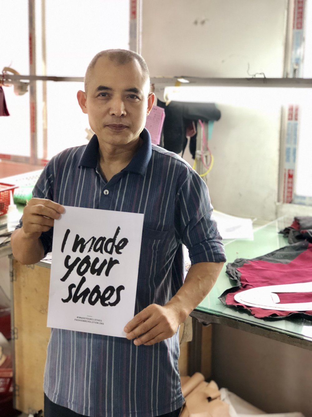 A shoemaker in a production house - Guangzhou, China, where Kathryn Wilson shoes are made