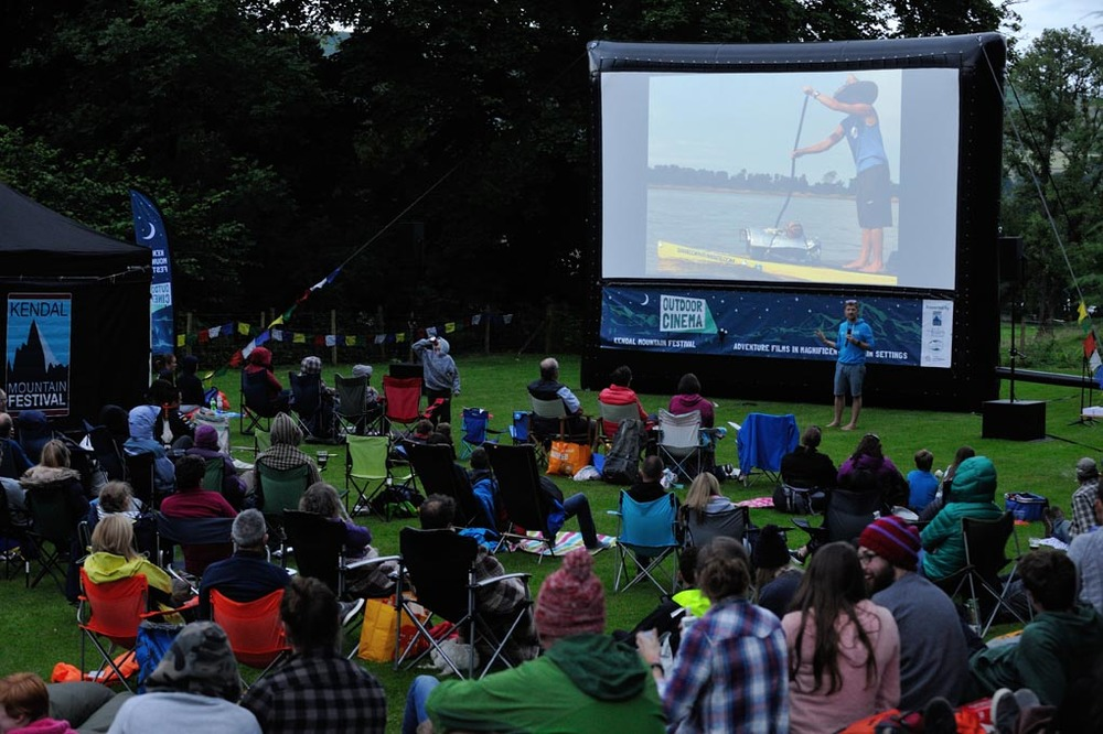 Cinema goers in Mansion House gardens