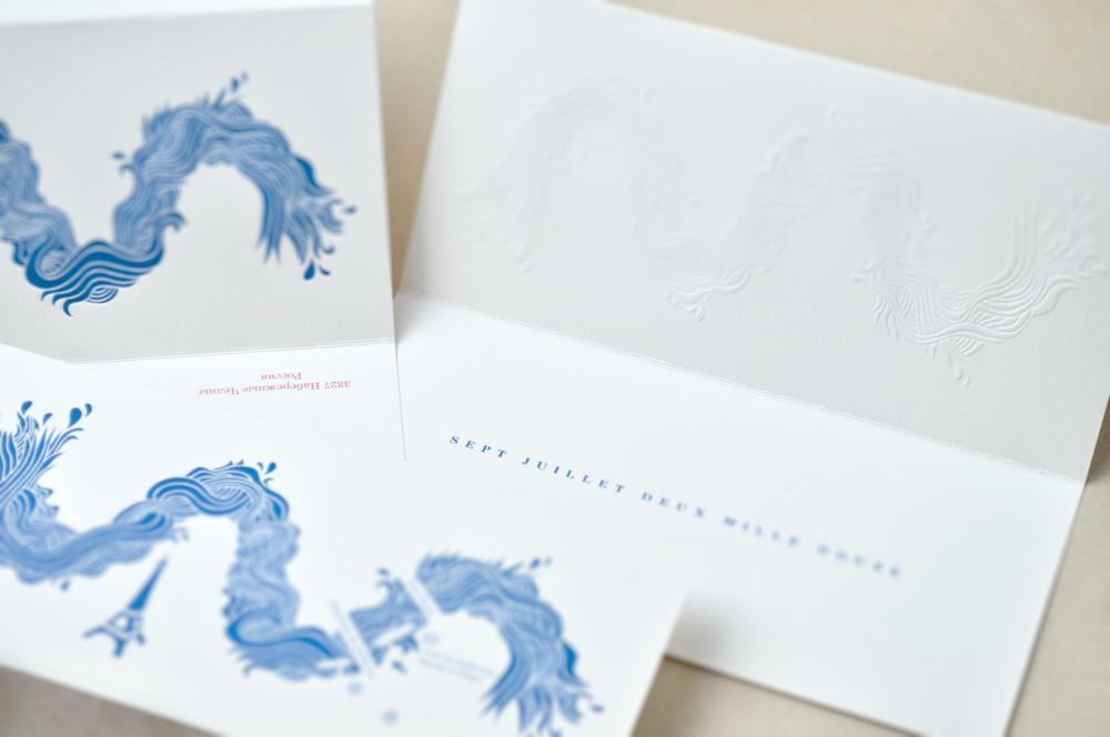 Faire-part invitation Paris papier papeterie Mariage sur-mesure création enveloppes cartons couleurs personnalisable champêtre créatif illustration dessinchic dorure thème impression