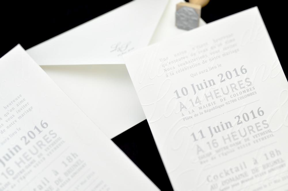 Faire-part invitation Paris papierMariage sur-mesure création cartons couleurs personnalisable champêtre créatif illustration floral chic dorure thème impression Save the date letterpress gaufrage