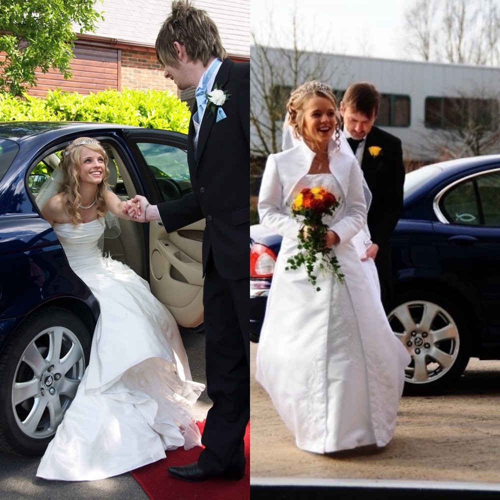 Matt helping Naomi out of our X Type and Katharine arriving with me for her marriage to Alex
