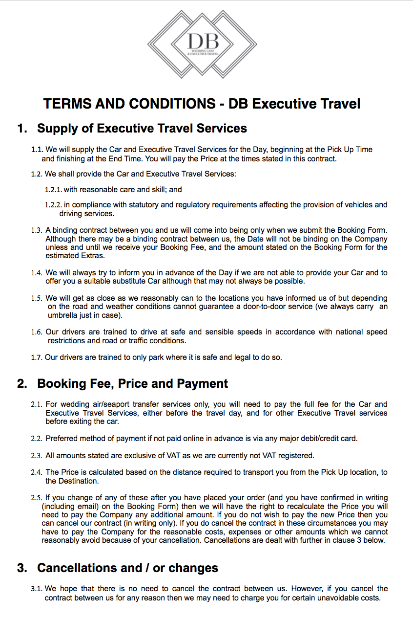 DB Executive Travel T's and C's page 1