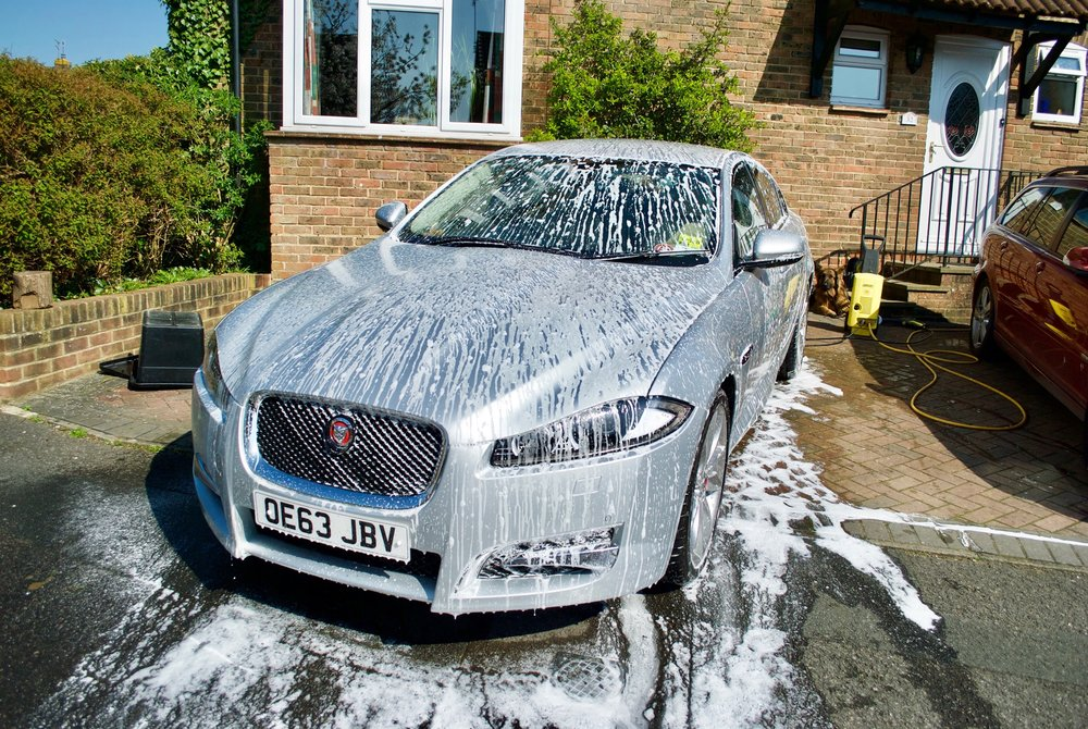 Jaguar XFS under snow foam