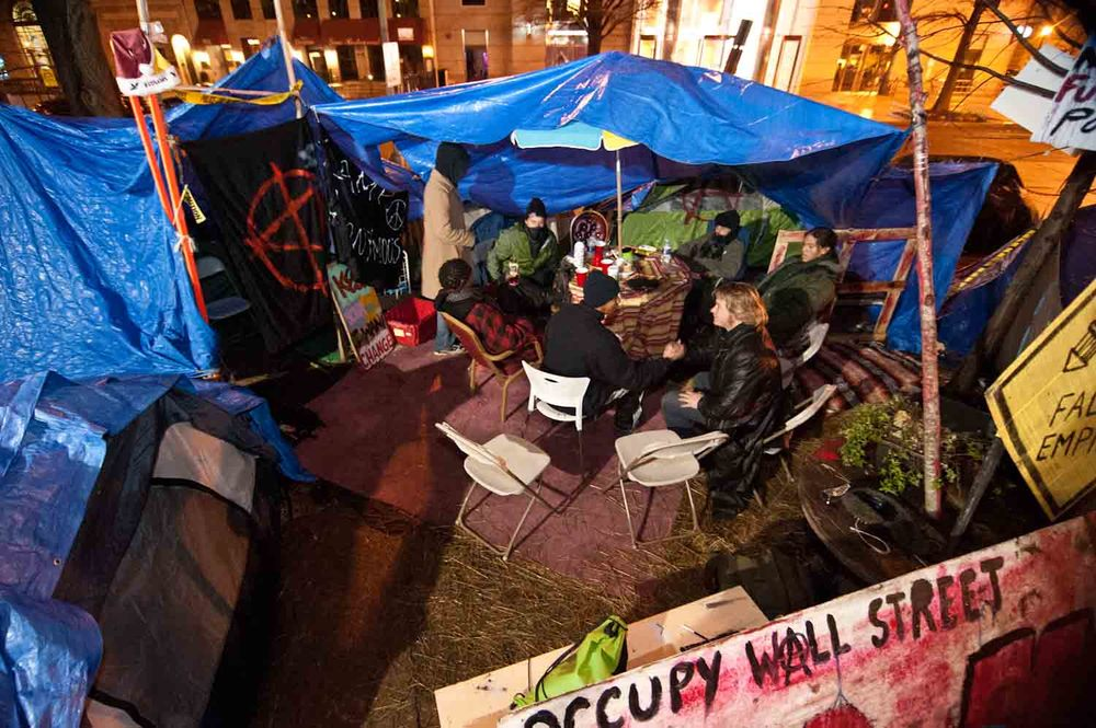 """""""Camp Anonymous"""" was viewed by some members of Occupy K St in Washington DC as the only true 'commons' space in the McPherson Square where Occupiers could congregate and hang out. (January 26th, 2012)"""