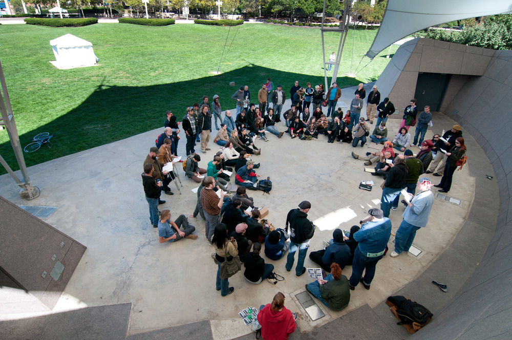 Occupy Cincinnati assembles for their first ever meeting in the Proctor and Gamble Pavilion. (October 2nd, 2011)