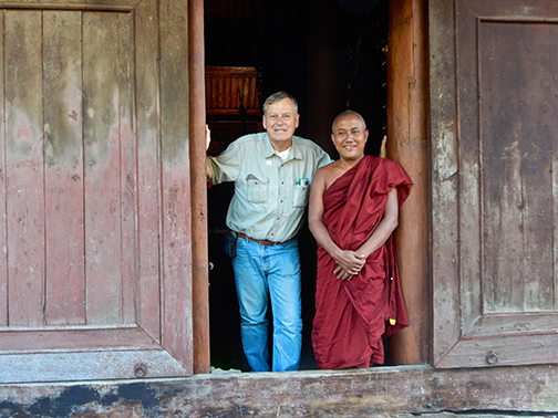 With Monk in Mandalay Myanmar