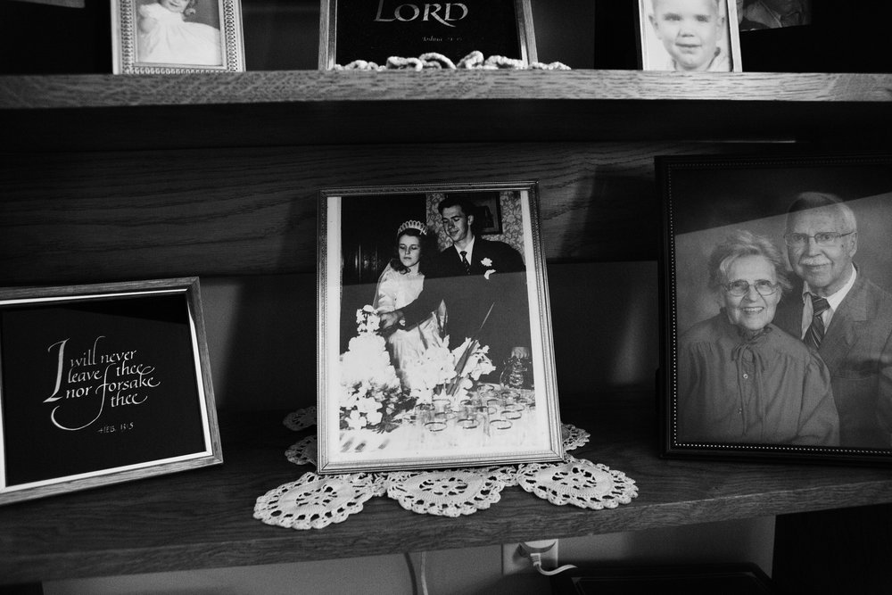 Mementos of the couple's past are displayed in their room at CountryHouse Residences, where they now reside. They were married in 1948: her father made the couple wait to get married until after she graduated from college.