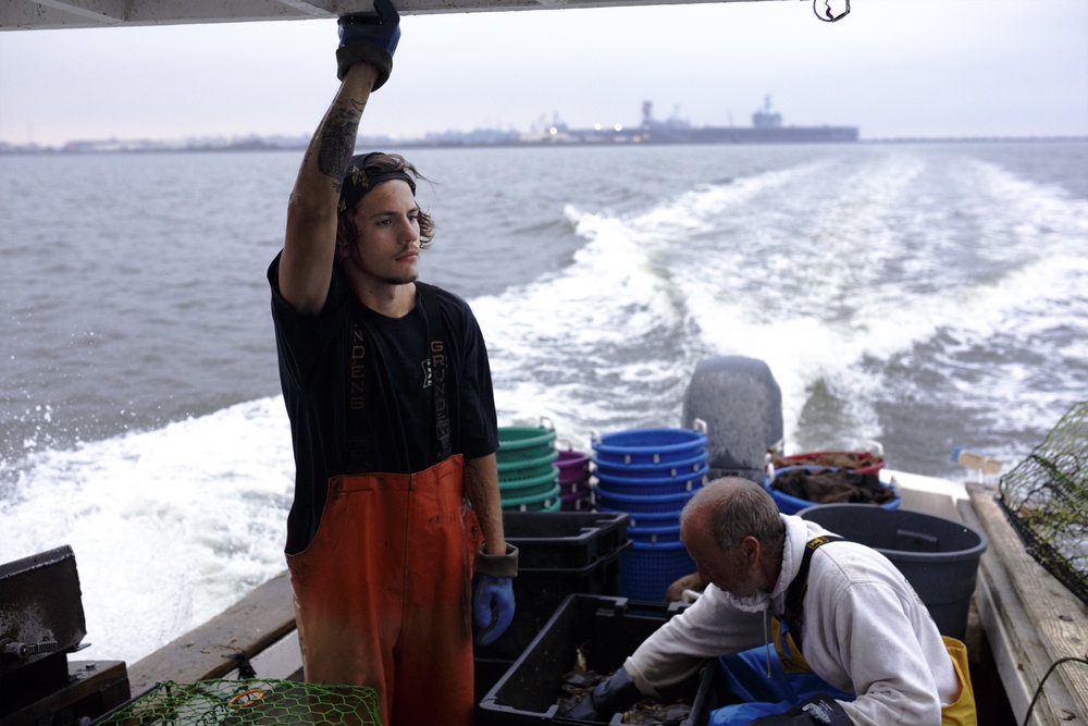 Cody Powell looks out toward Willoughby's Bay while aboard the crab boat Miss Addie in Norfolk, Virginia. Powell became interested in crabbing because of his love for the water.