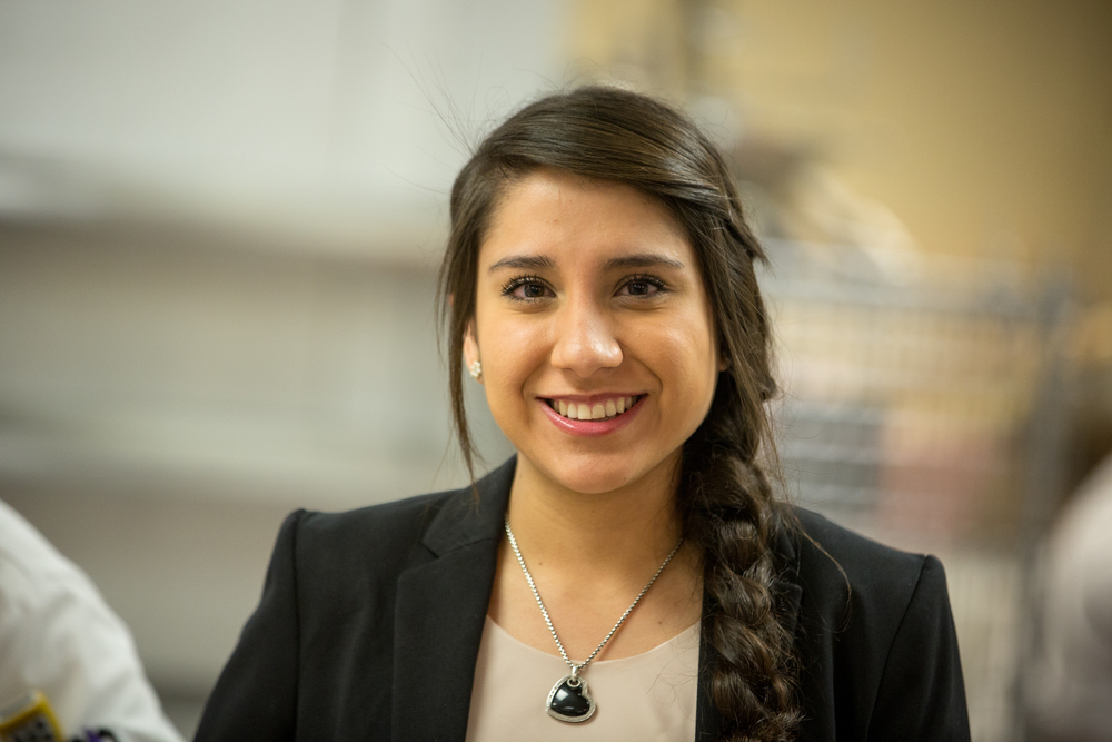 Female study abroad student in blazer