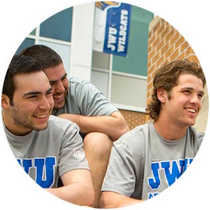 Students in JWU t-shirts