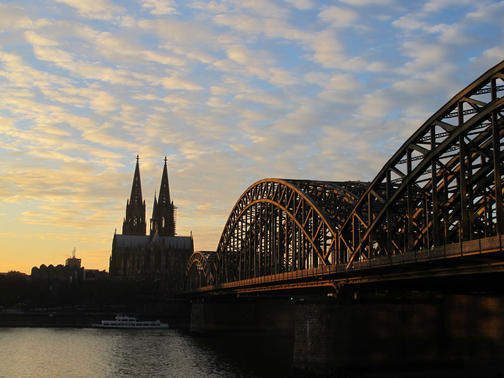 View of Cologne's cathedral across the Rhine River