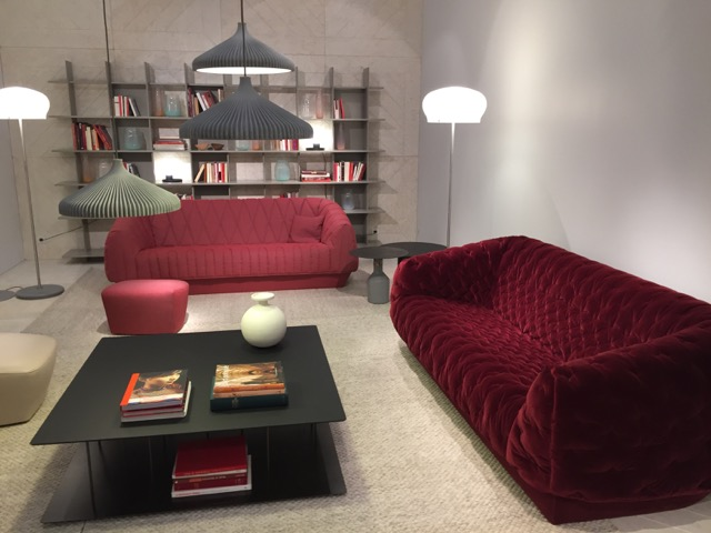 Cover1 and Cover2 shown at Maison Objet in rich, red hues and luxurious velvet which creates an even more traditional feel to what truly is a contemporary piece.