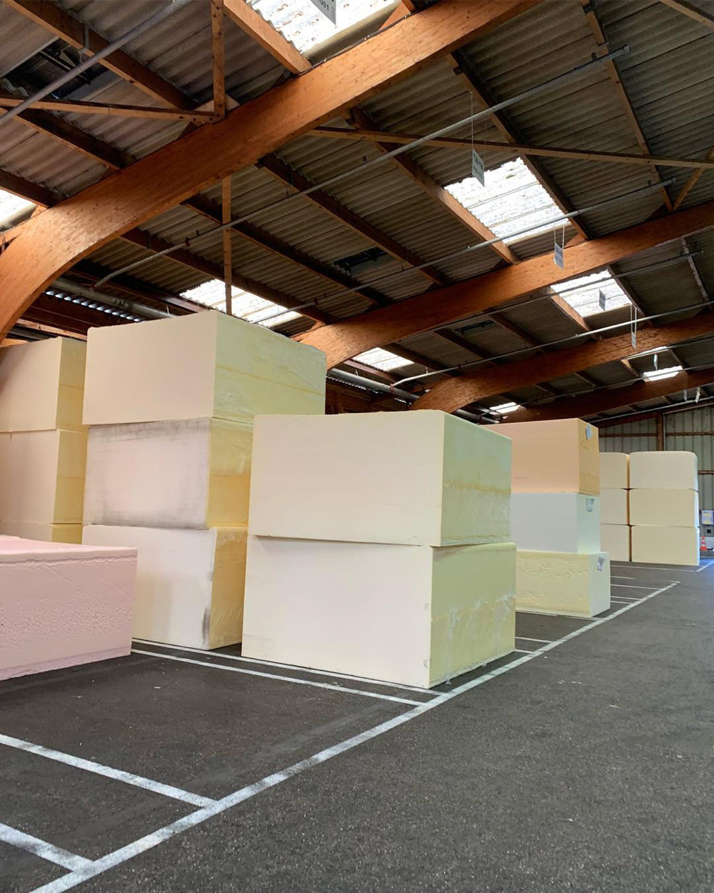 Large blocks of foam in 26 different densities await an order
