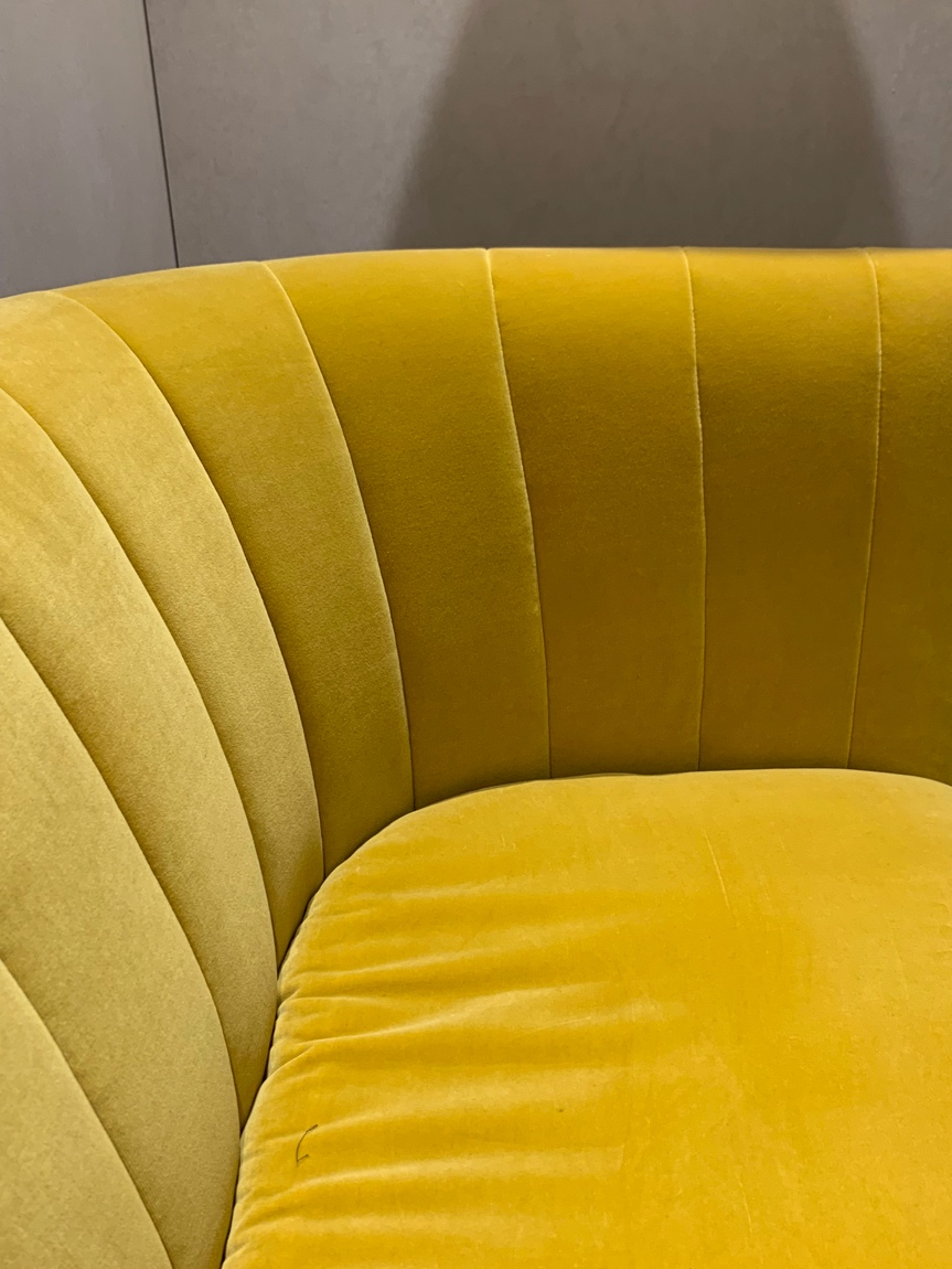 &Tradition: sculptural yellow velvet