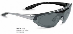 8915 - Ideal for golf, running and most non-contact sports such as cricket, tennis, fishing, sailing etc. The frame uses an insert which holds your lenses (if your prescription changes you only need to change the insert, not the whole frame). The visor comes in a variety of options including polarised, low light and clear.  Frame colours include silver, red and black.
