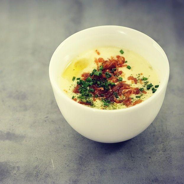 Onion &potato soup, charred spring onion, truffle