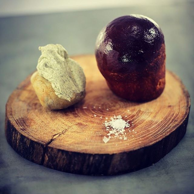 Marmite bread, seaweed butter