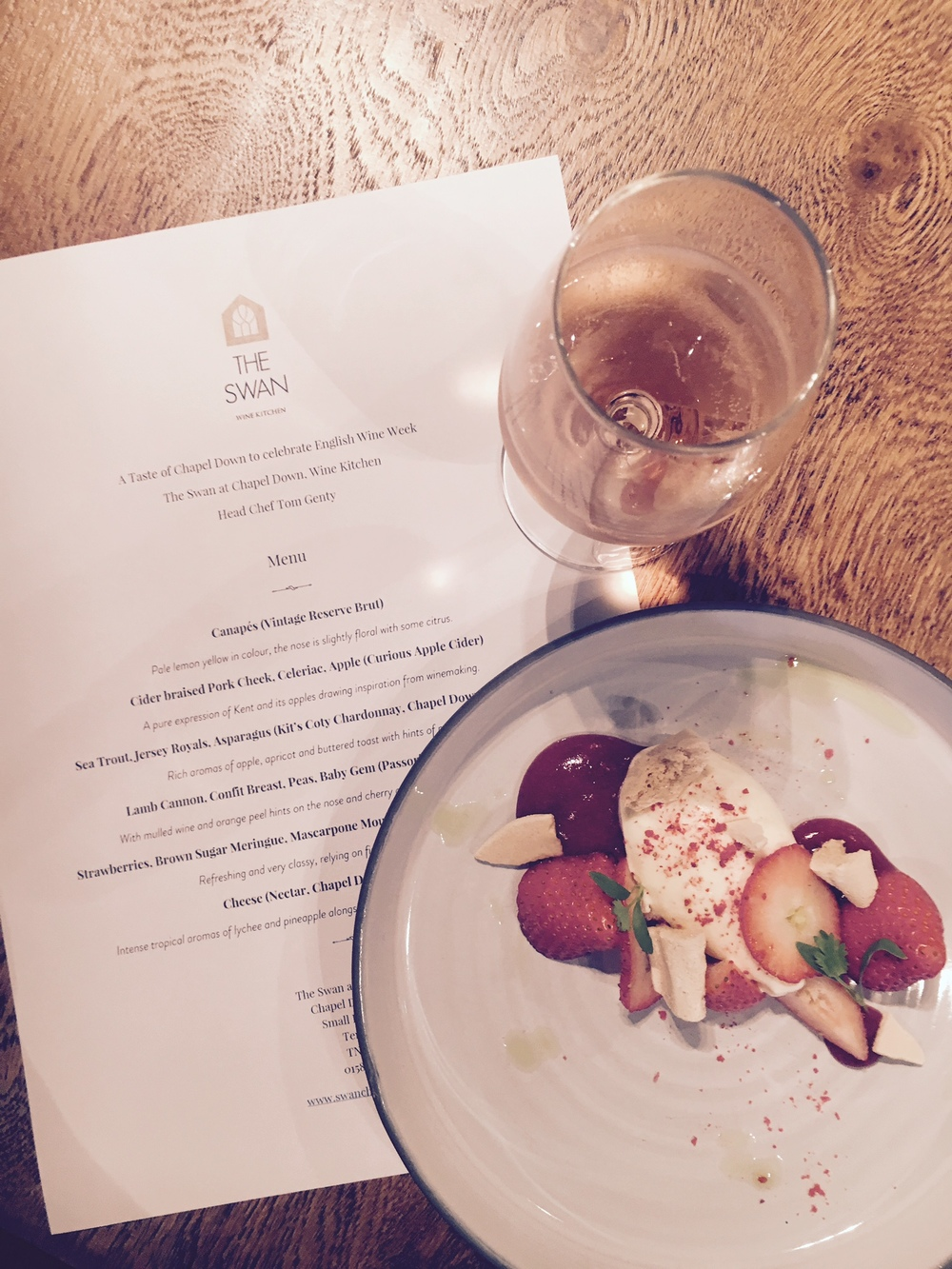 Tom Genty's wine flight menu at The Swan at Chapel Down