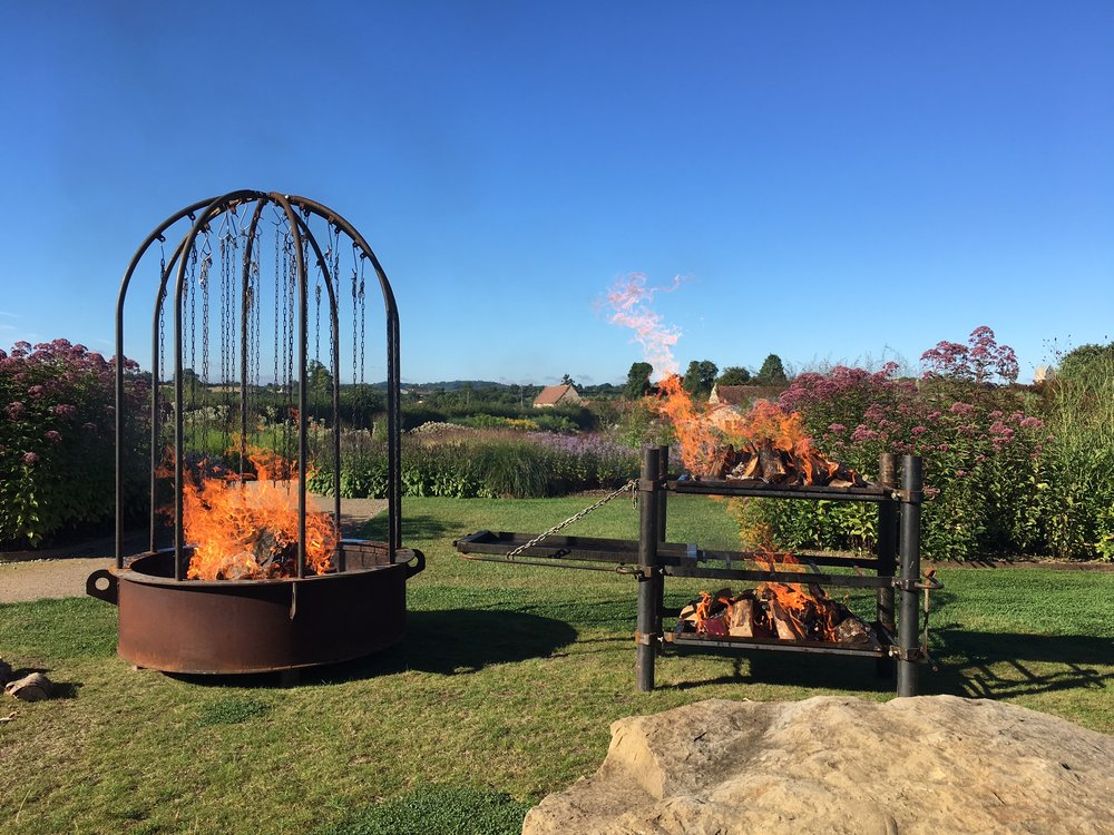 The fire pits at Durslade Farm, Somerset