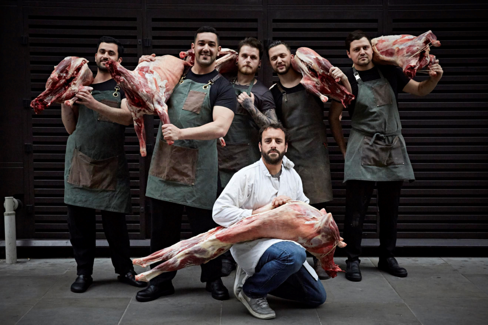 James from Cabrito with head chef George Wood at Temper and the rest of the team [credit Stephen Joyce]