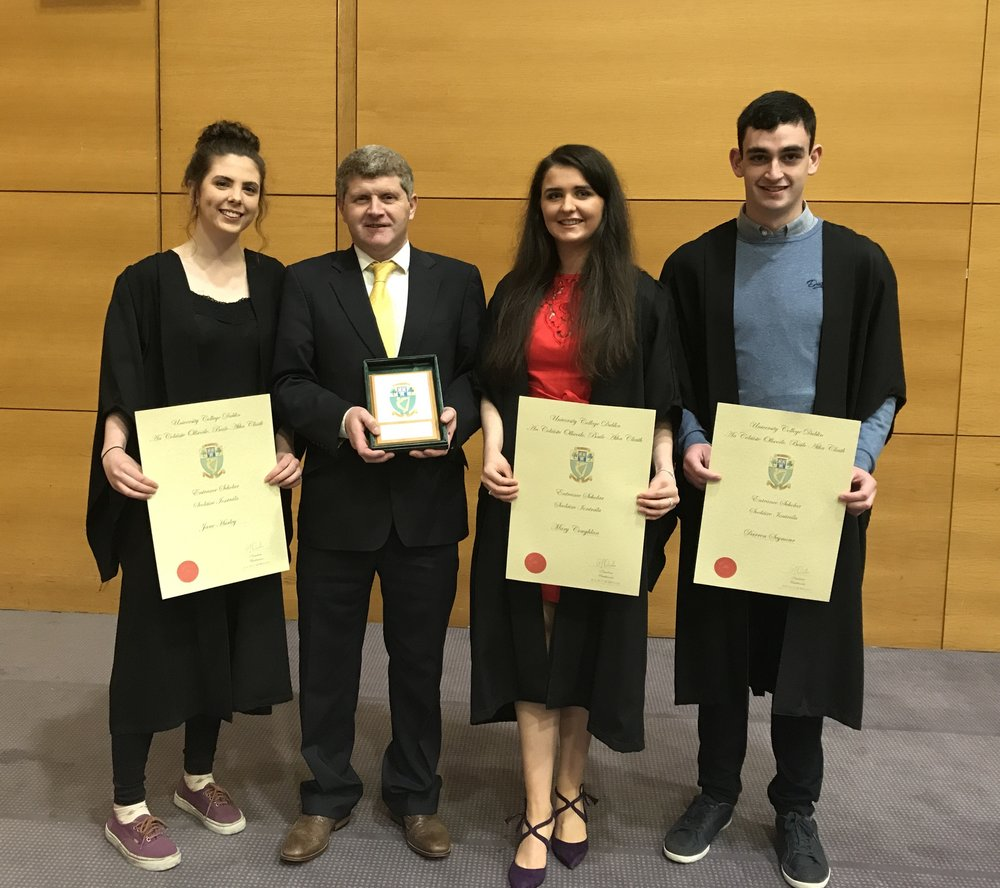 Congratulations to last year's leaving cert students 2017, Jane Hurley, Helen Coughlan & Darren Seymour who all received entrance scholarships to UCD due to their exceptional leaving cert results.