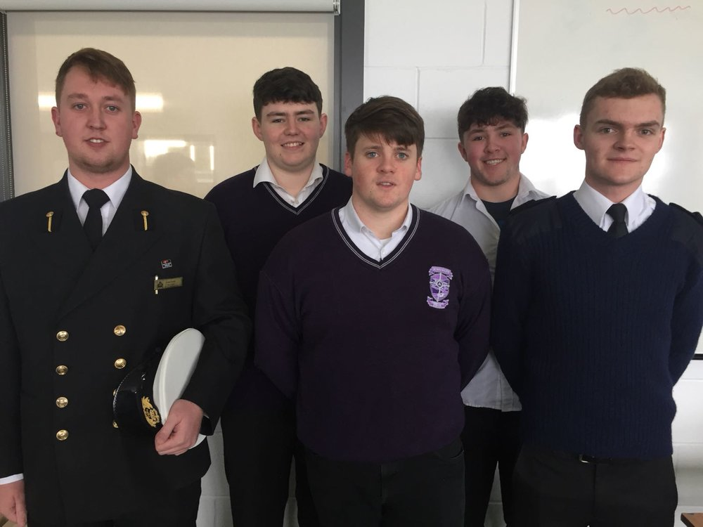 The School was delighted to welcome past pupils, Timmy O Donovan and Eoin Quinn who are both studying Marine Engineering and Nautical Engineering respectively at the Marine College in Haulbowline. Both gave a great talk to some of our current leaving certs and both have obtained contracts when they graduate. We wish them both well and thanks to Ms. Cliodhna O Sullivan, Career Guidance Department for organising.