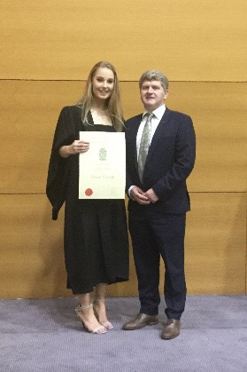 Congratulations to former Leaving cert Student Eimear Connolly of Deelish Skibbereen who recently received an Academic Scholarship to UCD. She is pictured with proud principal, Mr. Anton O Mahony.