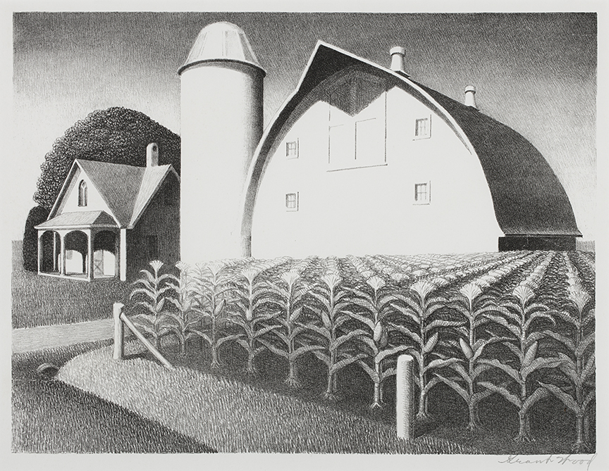 """""""Fertility"""" (1939) by Grant Wood, printed by George C. Miller. An official edition of 250 signed lithographs distributed by Associated American Artists. All works by Grant Wood are © Figge Art Museum, successors to the Estate of Nan Wood Graham and licensed by VAGA, New York, NY."""