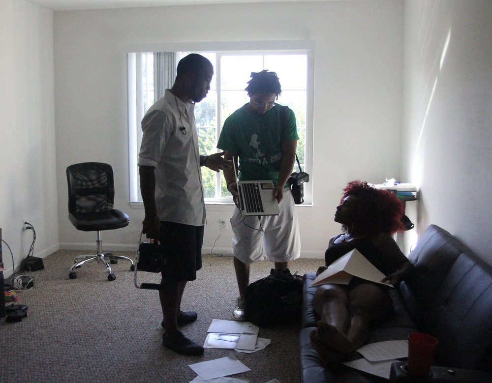 Terrence directing actress while shooting short film. Photo by B Focus Studios.