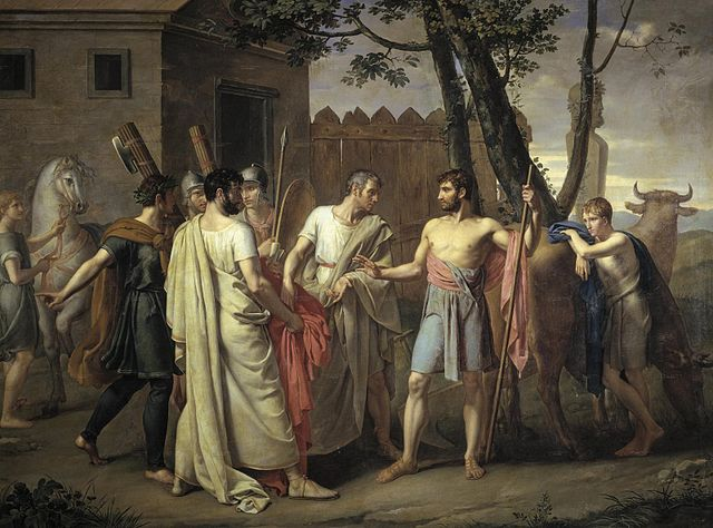 Cincinnatus leaves the plow for the Roman dictatorship. Painting by Juan Antonio Ribera, c. 1806.