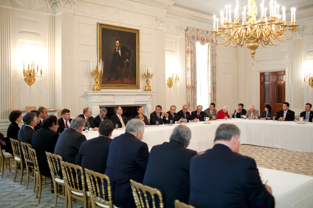 President Obama meets with the Congressional Hispanic Caucus in 2009. Source: Wikipedia.