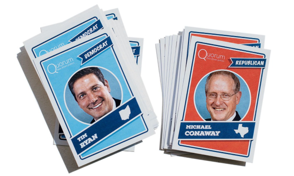 Quorum cards with senators and representatives' stats. Source: Washingtonian.com