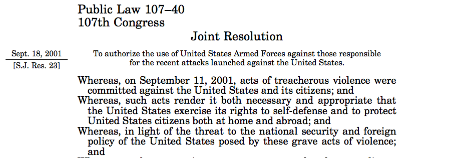P.L. 107-40, which delegated significant military authority to the executive.